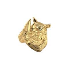 18k Solid Yellow Gold Rhino Ring