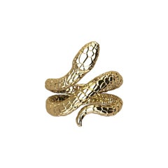 18k Solid Yellow Gold Snake Ring