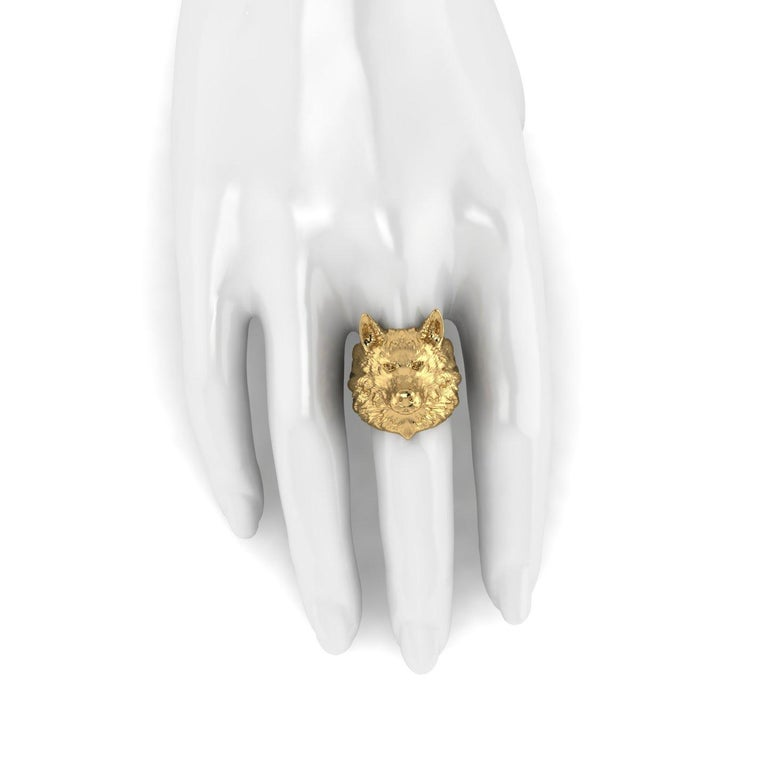 18k Solid Yellow Gold Wolf Ring entirely made in 18k Solid Yellow Gold, no platings,  detailed, made to order of your size each time, due to the finger size fitting importance. This is a solid piece of 18k Yellow Gold, with its weight, for people