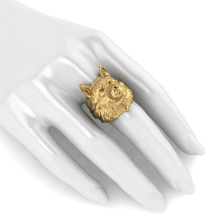 Art Nouveau 18k Solid Yellow Gold Wolf Ring For Sale