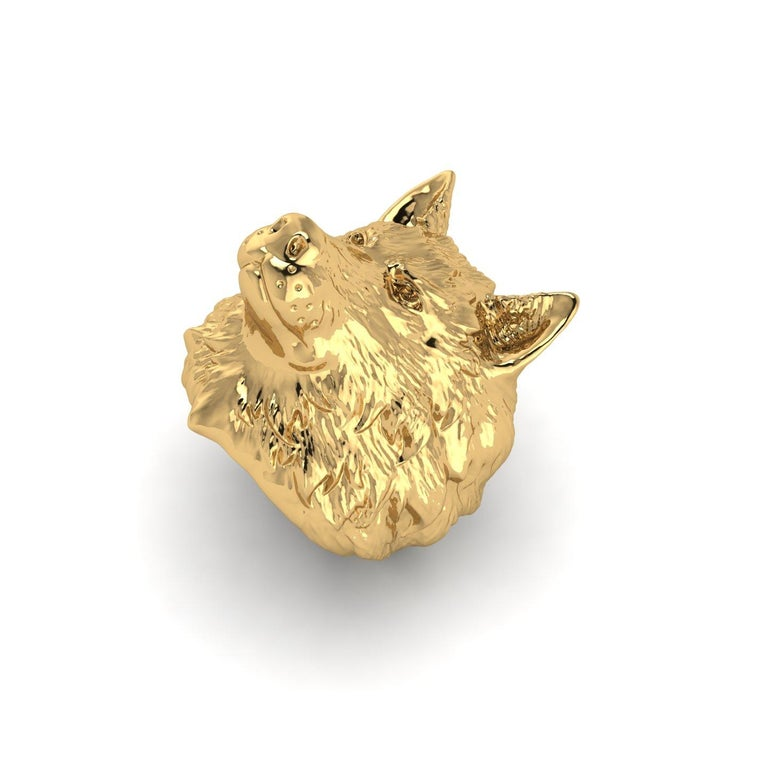 18k Solid Yellow Gold Wolf Ring In New Condition For Sale In Lake Peekskill, NY
