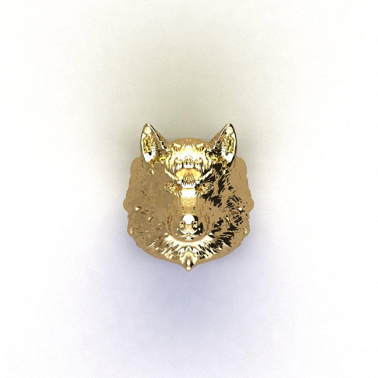 18k Solid Yellow Gold Wolf Ring For Sale 1
