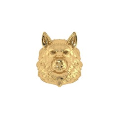 18k Solid Yellow Gold Wolf Ring