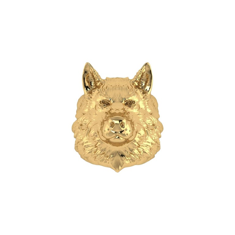18k Solid Yellow Gold Wolf Ring For Sale