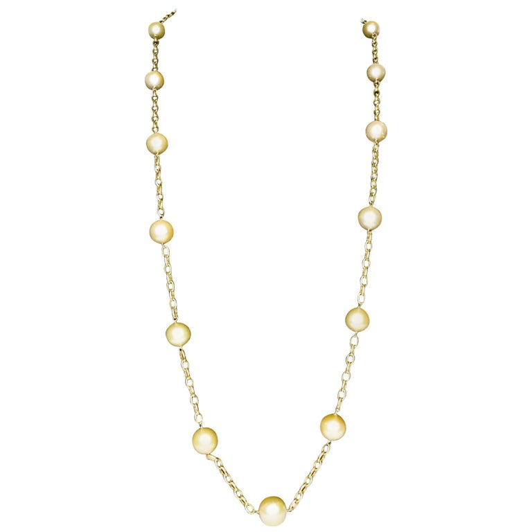 18 Karat South Sea Golden Pearls Necklace For Sale