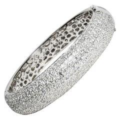 18 Karat Spangled Bangle Curved 18 Karat Dome Top Hinged Pave Diamond