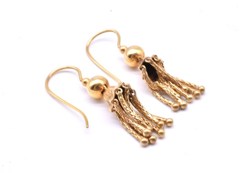 Victorian 18 Karat Gold Tassel Drop Earrings In Excellent Condition For Sale In Baltimore, MD