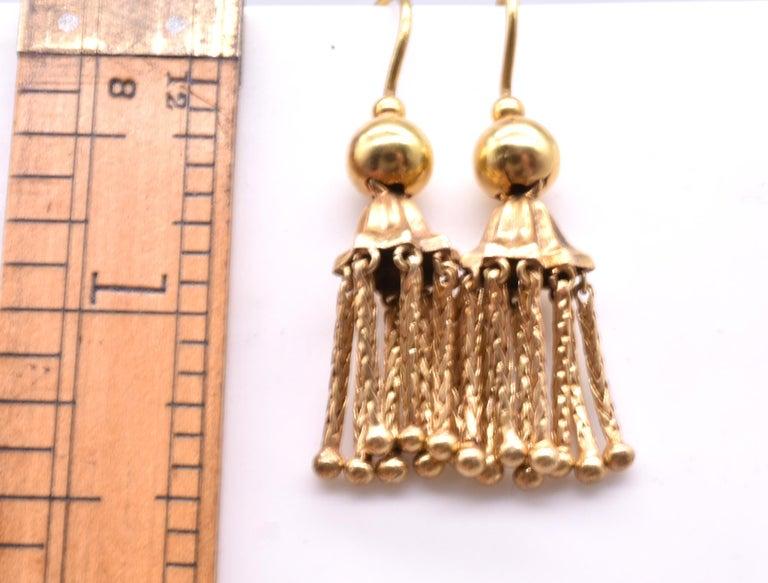 Victorian 18 Karat Gold Tassel Drop Earrings For Sale 1