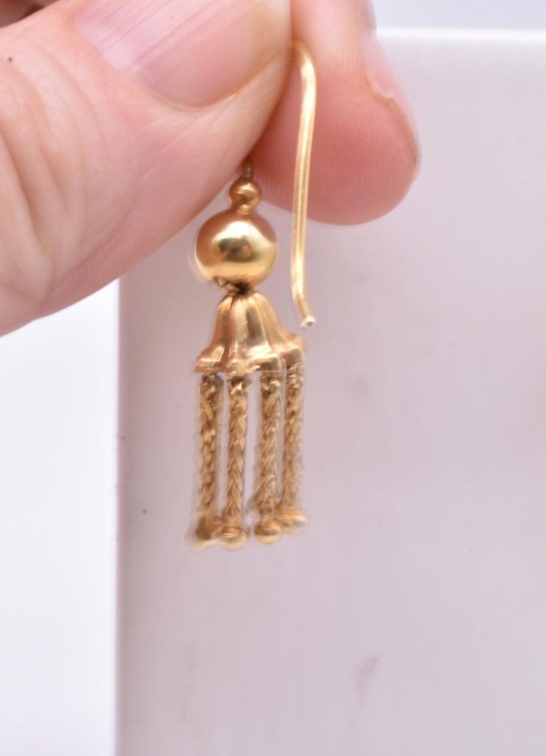 Women's Victorian 18 Karat Gold Tassel Drop Earrings For Sale