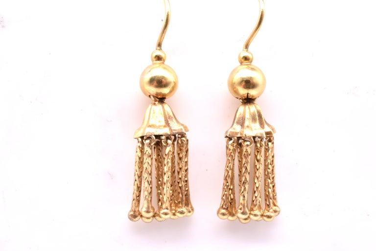 Victorian 18 Karat Gold Tassel Drop Earrings For Sale 3
