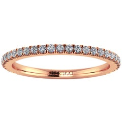 18 Karat Thin Rose Gold Diamonds Pavé Stackable Band Ring