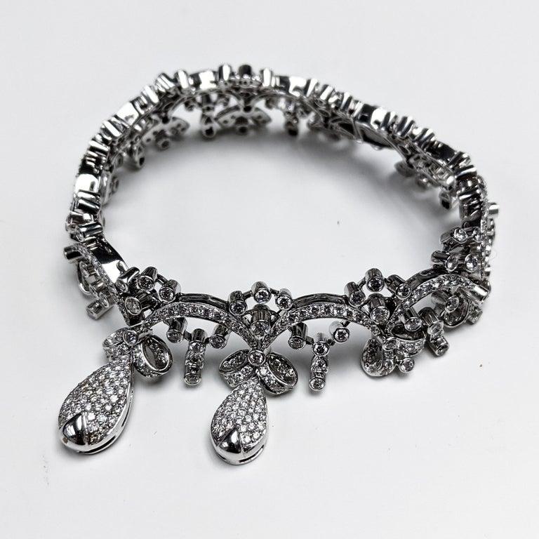 Artisan 18 Karat Tiara Round Diamond Bracelet For Sale