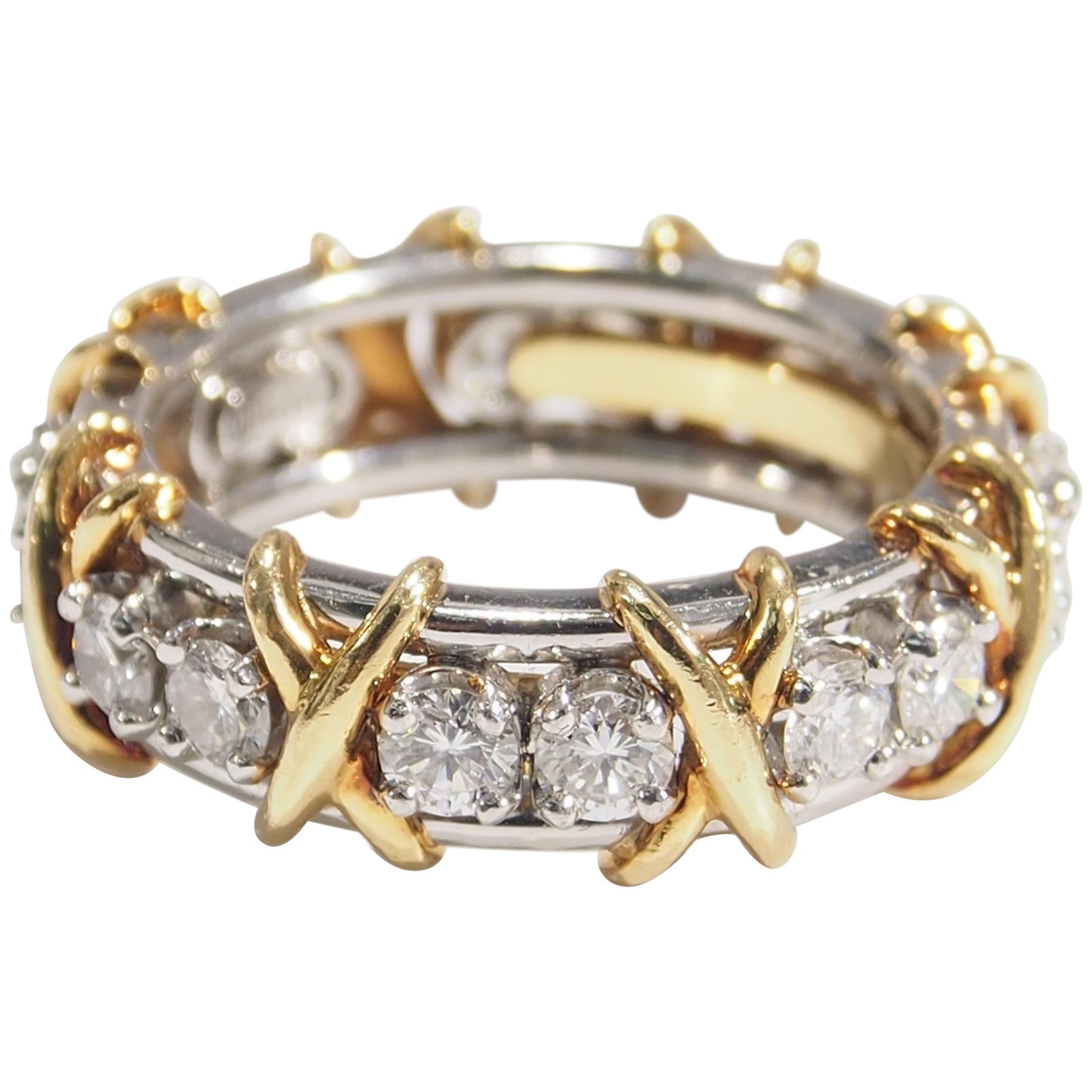 18 Karat Tiffany and Co Schlumberger Diamond Ring Platinum Yellow Gold
