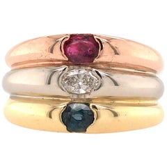 18 Karat Tri-Color Gold Ruby, Diamond and Sapphire Ring