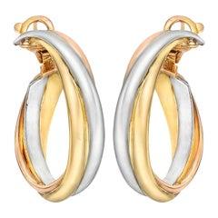"""18 Karat Tri-Colored Gold """"Trinity"""" Hoop Earrings"""