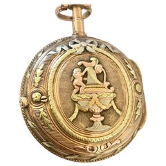 18k Tri-Colour Gold Rare and Earlyverge Fusee Pocket Watch Signed Lenoir a Paris