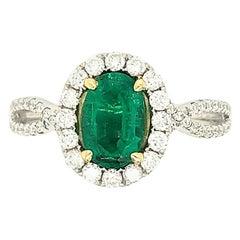 18 Karat Tu-Tone Emerald and Diamond Cocktail Ring