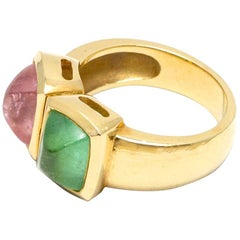 18k Two-Stone Sugarloaf Cabochon Green and Pink Tourmalines Ring, circa 1980