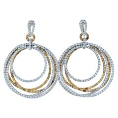 18k Two-Tone 24.57 Carat Pave White and Chocolate Diamond Dangling Hoop Earrings