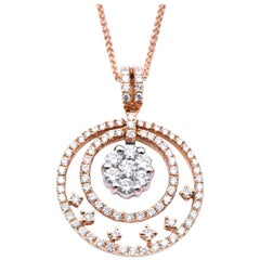 18 Karat Two-Tone Diamond Circular Necklace