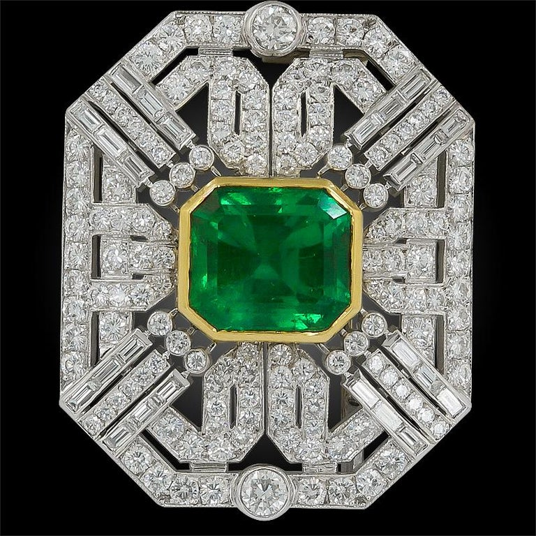 Women's or Men's 18 Karat Two-Tone Diamond and Colombian Emerald Brooch For Sale