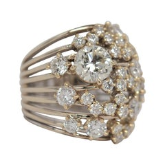 18K Two Tone Gold and Diamond Cluster Ring with 4.11 Carats