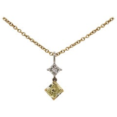 18 Karat Two-Tone Gold and Diamond Pendant Necklace
