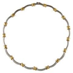 18 Karat Two-Tone Gold Diamond Necklace