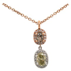 18 Karat Two-Tone Gold Fancy Colored Diamond Pendant Necklace