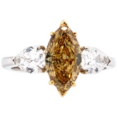 18K Two-Tone Gold Fancy Marquise Three-Stone Ring 1.56Ct