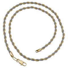 18k Two-Tone Gold Intertwined Rope Chain Necklace