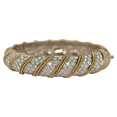 18k Two Tone Gold Ladies' Bangle with Round Brilliant Cut Diamonds, 18.25 Carat