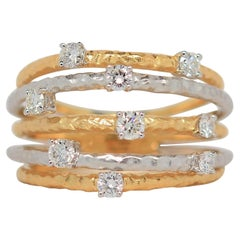 18K Two Tone Gold Ring with Round Brilliant Cut Diamonds, 0.52 Carats