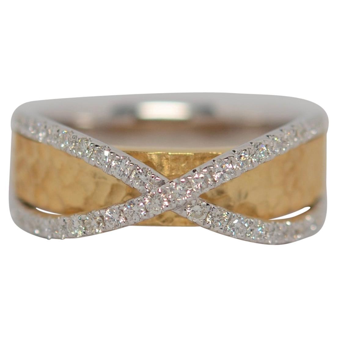 18K Two Tone Gold & Round Brilliant Cut Diamond Ring, 0.50 Carats