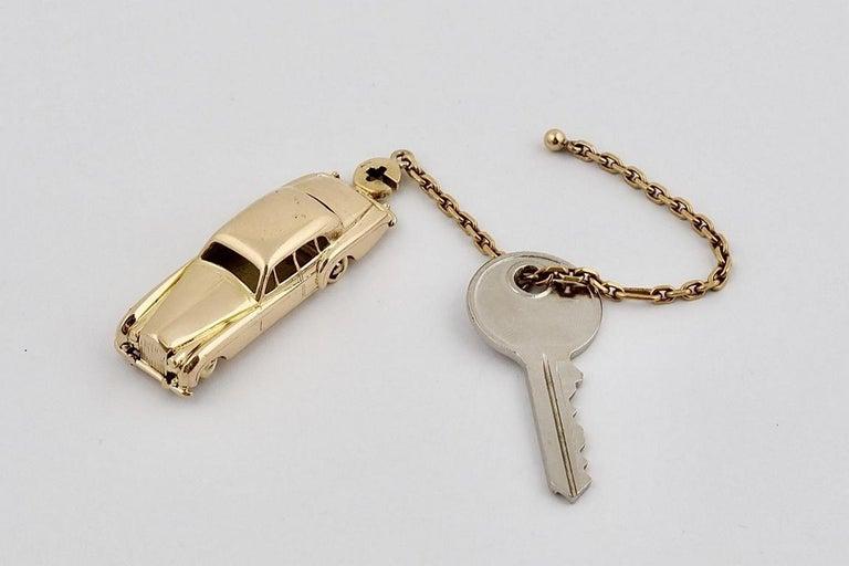 Women's or Men's 18 Karat Vintage Cartier Rolls Royce Keychain with Moveable Wheels For Sale