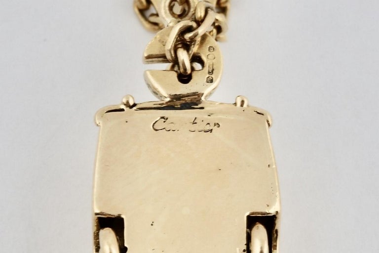 18 Karat Vintage Cartier Rolls Royce Keychain with Moveable Wheels For Sale 1