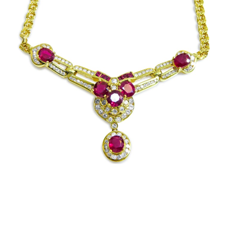 18K Yellow Gold  Weight= 15.9gr  Length= 17 Inches  Diamond= 1.50Ct total  Ruby= 5 Ct total Year= 1980