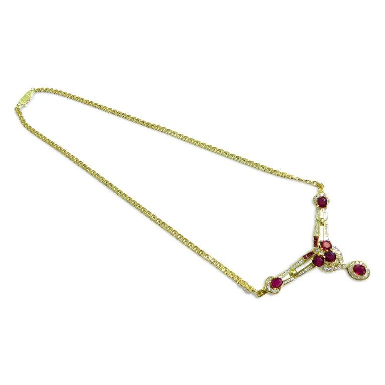 Art Deco 18 Karat Vintage Diamond and Ruby Ladies Necklace For Sale