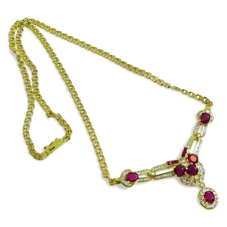Women's 18 Karat Vintage Diamond and Ruby Ladies Necklace For Sale