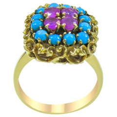 18 Karat Vintage Ruby and Turquoise Ladies Ring