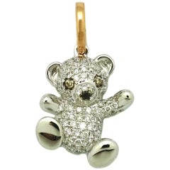 18 Karat White and Rose Gold Diamond Teddy Bear Pendant