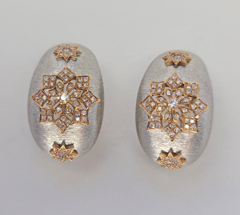 18 Karat White and Rose Gold Diamonds Cocktail Earrings in Florentine Technique For Sale 4