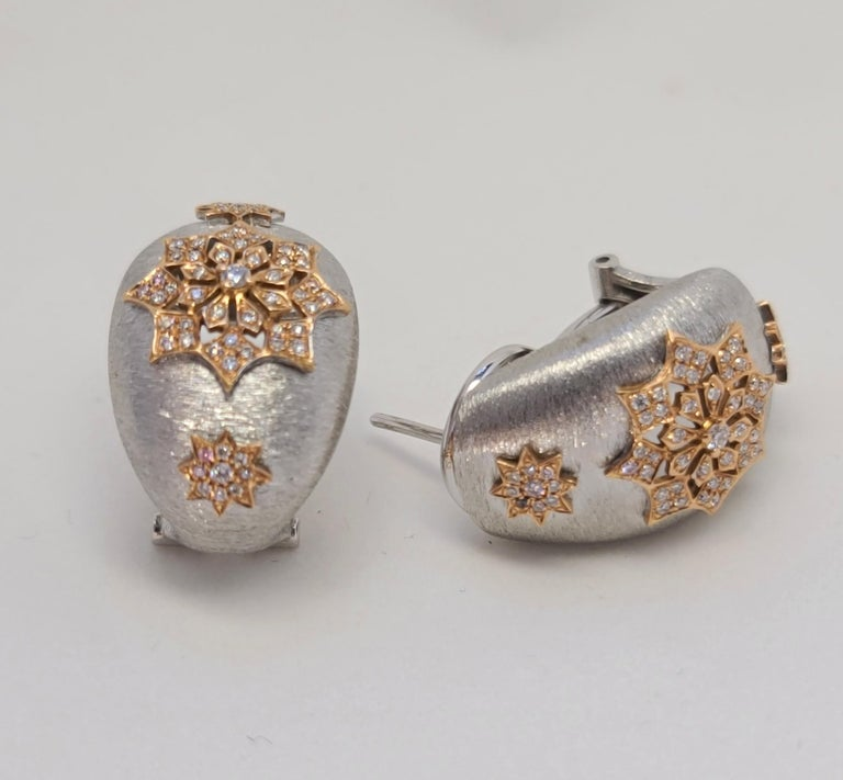 18 Karat White and Rose Gold Diamonds Cocktail Earrings in Florentine Technique For Sale 5