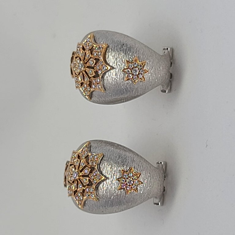 18 Karat White and Rose Gold Diamonds Cocktail Earrings in Florentine Technique For Sale 6