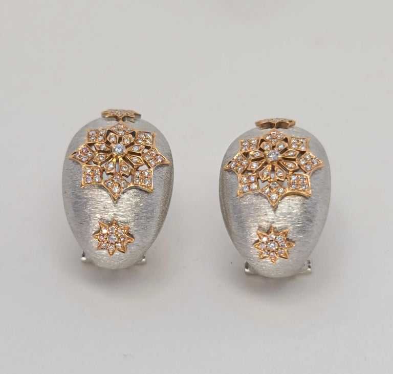 18 Karat White and Rose Gold Diamonds Cocktail Earrings in Florentine Technique For Sale 7