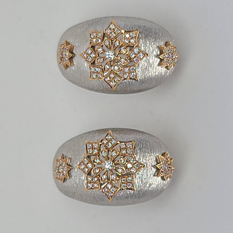 18 Karat White and Rose Gold Diamonds Cocktail Earrings in Florentine Technique For Sale 8