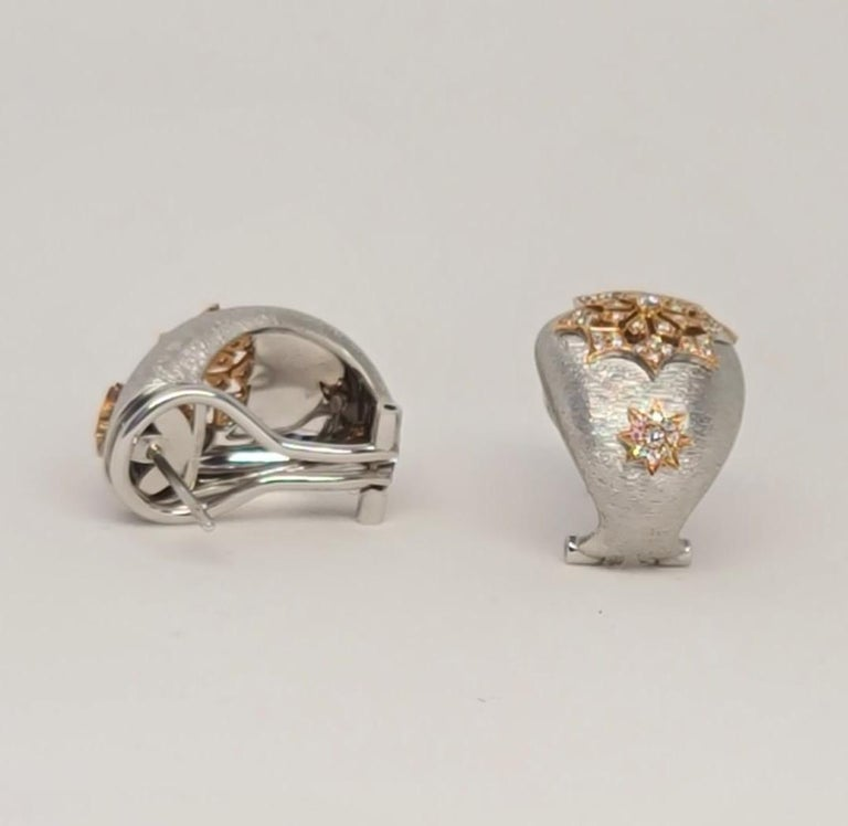 18 Karat White and Rose Gold Diamonds Cocktail Earrings in Florentine Technique For Sale 10