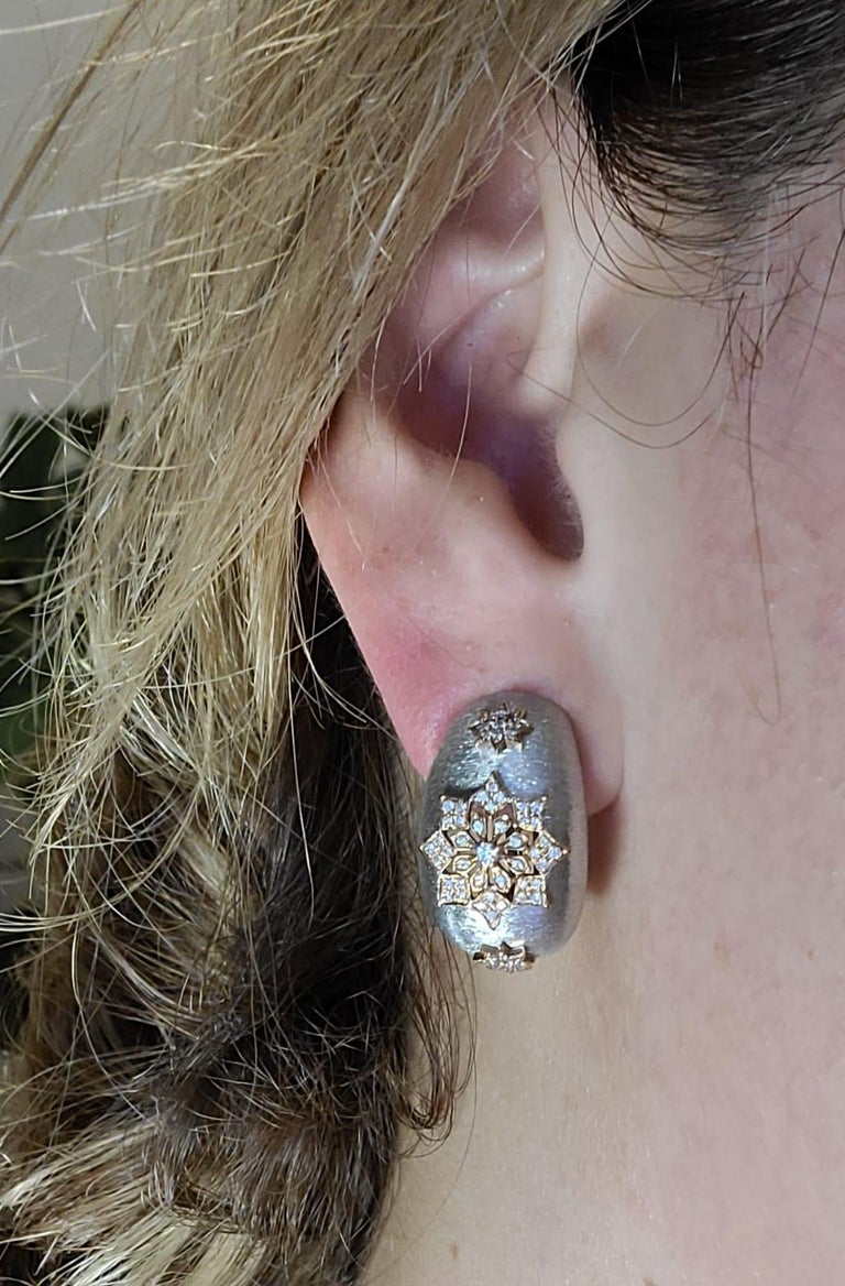 Women's 18 Karat White and Rose Gold Diamonds Cocktail Earrings in Florentine Technique For Sale