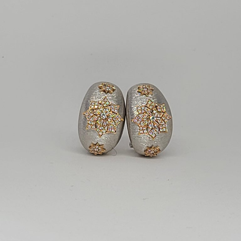 18 Karat White and Rose Gold Diamonds Cocktail Earrings in Florentine Technique For Sale 1