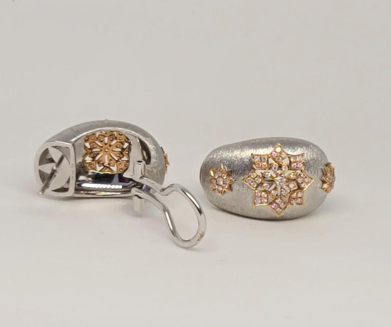 18 Karat White and Rose Gold Diamonds Cocktail Earrings in Florentine Technique For Sale 2